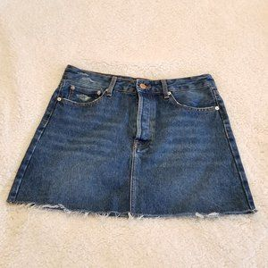 Bershka Button-Up Medium Rinse Denim Skirt